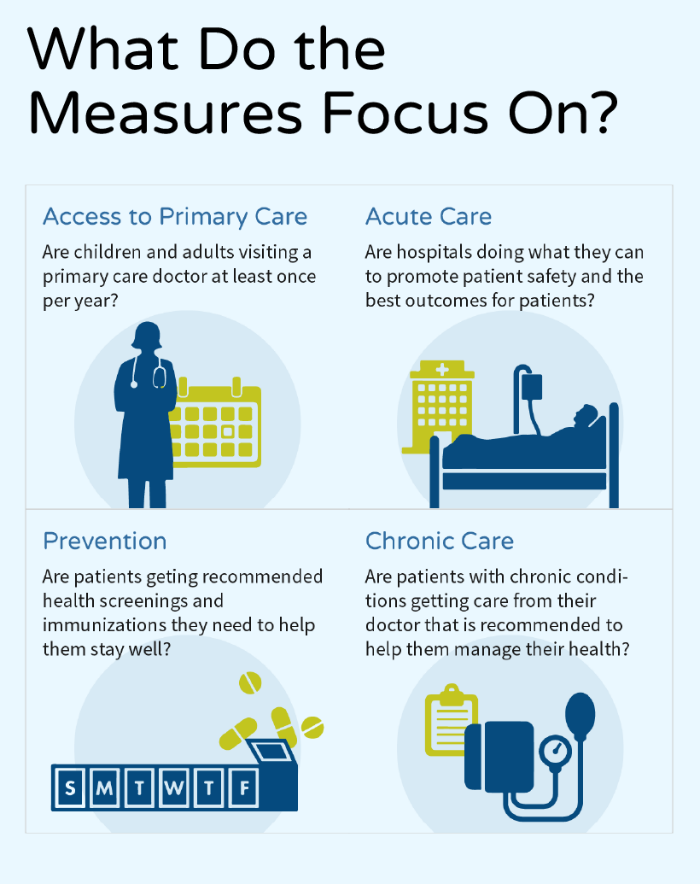 Infographic about what the Common Measure Set measures focus on, including: access to primary care, acute care, prevention, chronic care.
